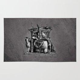 Odin on his throne Huginn Muninn ravens Viking Sagas Rug
