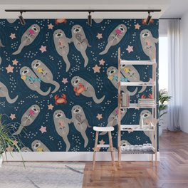 Otters Playing Wall Mural