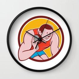 Shot Put Track and Field Athlete Circle Cartoon Wall Clock