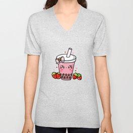 Strawberry Bubble Tea Unisex V-Neck