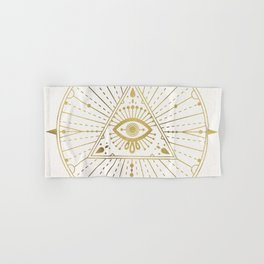 All-Seeing Eye Mandala – Gold Palette Hand & Bath Towel