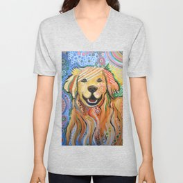 Max ... Abstract dog art, Golden Retriever, Original animal painting Unisex V-Neck