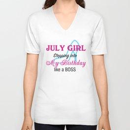 July Girl Birthday Unisex V-Neck