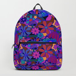 70's Psychedelic Garden in Cool Jeweltone Backpack