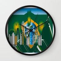 rio de janeiro Wall Clocks featuring Rio de Janeiro skyline by siloto