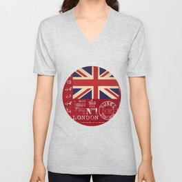 Union Jack Great Britain Flag Unisex V-Neck