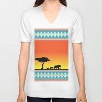 safari V-neck T-shirts featuring Safari by gdChiarts