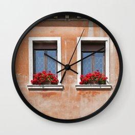 Three Windows in Venice Wall Clock