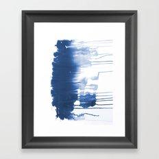 Paint 1 - indigo blue drip abstract painting modern minimal trendy home decor dorm college art Framed Art Print