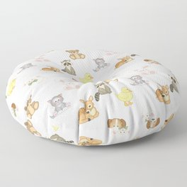 Cute Woodland Farm Baby Animals Nursery Floor Pillow