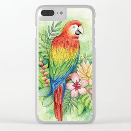 Scarlet Macaw - tropical rainforest illustration Clear iPhone Case