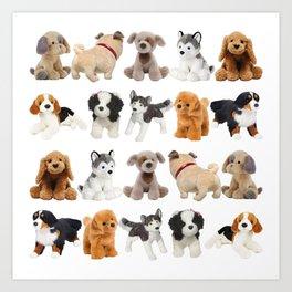 Fluffy Puppy Dog Kids Pattern Art Print