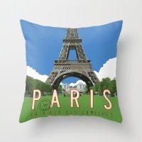 travel poster Throw Pillows featuring Paris 2 Travel Poster by Michael Jon Watt