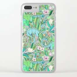 Improbable Botanical with Dinosaurs - soft pastels Clear iPhone Case