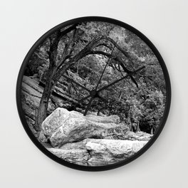 Bending Tree Bough and Boulder Wall Clock