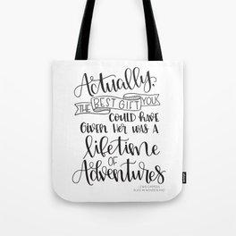 Lifetime of Adventures - Alice in Wonderland Quote Tote Bag