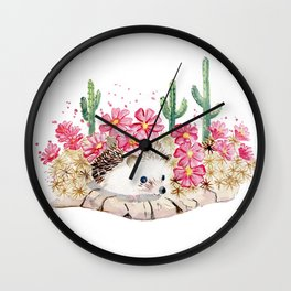 Camouflage - Hedgehog and Cactus Wall Clock