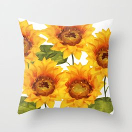 Design Five Sunflower on white Background Throw Pillow