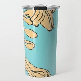 Flowers on Turquoise Travel Mug
