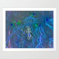 Jellyfish Diver Art Print