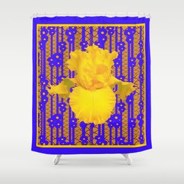 Blue-Gold Oriental Style Yellow Iris Floral Shower Curtain