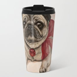 The pug with a red bow Travel Mug