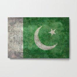 Pakistani flag, vintage retro style Metal Print