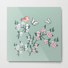 Cherry blossoms, butterflies and birds Metal Print