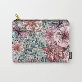 Tropical Pastel Pink Flower Hibiscus Garden Carry-All Pouch