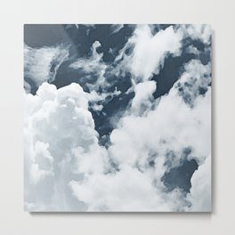 Abstract navy blue gray white watercolor hand painted clouds Metal Print
