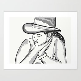 Cowgirl Portrait of a Woman in Love Art Print