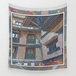 BHAKTAPUR NEPAL BRICKS WINDOWS WIRES Wall Tapestry