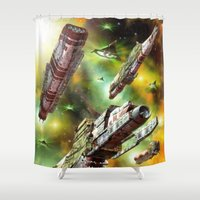 ships Shower Curtains featuring Space Ships Fantasy by FantasyArtDesigns