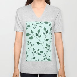 Light Cyan Soft Mint Green Leaves Greenery Pattern Modern Décor Unisex V-Neck