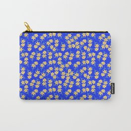 Yellow Lilies on Cornflower Blue Background Carry-All Pouch