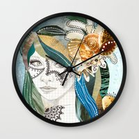 aqua Wall Clocks featuring Aqua by Jenndalyn