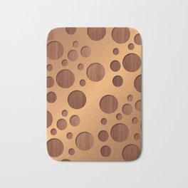 Copper Metal With Circle Wood Cut Outs Digital Art Bath Mat