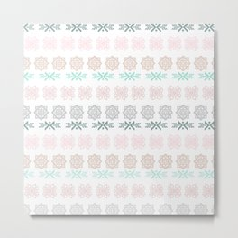 Pastel pink green hand painted scandinavian geometrical Metal Print