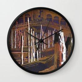 Venice, Italy fine art painting of Rialto Bridge and gondola. Watercolor painting Wall Clock