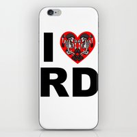 roller derby iPhone & iPod Skins featuring I heart roller derby by Andrew Mark Hunter