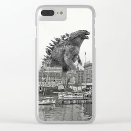 Godzilla and King Kong Rumble in Baltimore Clear iPhone Case