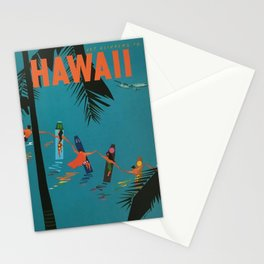 Surfing Hawaii - Jet Clippers to Hawaii Vintage Travel Poster Stationery Cards