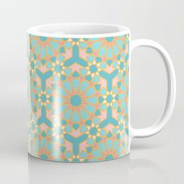Elegant pastel islamic geometric pattern, teal & orange Coffee Mug