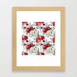 Botanical red ivory teal watercolor roses floral Framed Art Print