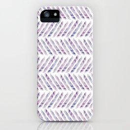 Herringbone - in purple watercolour iPhone Case