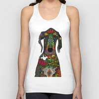 great dane Tank Tops featuring Great Dane love white by Sharon Turner