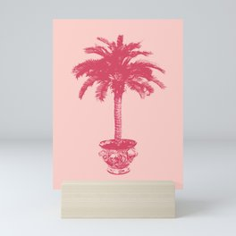 Potted Palm Tree in Shades of Coral Pink Mini Art Print