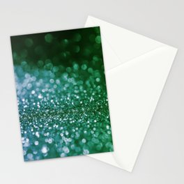 Aqua Glitter effect- Sparkling print in green and blue Stationery Cards