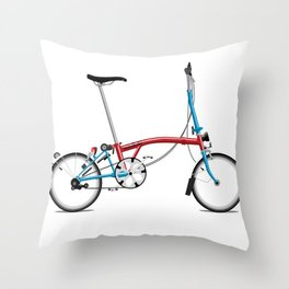 Folding London Brompton Bicycle Throw Pillow