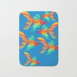 Happy Fish with Sky Blue Background Bath Mat